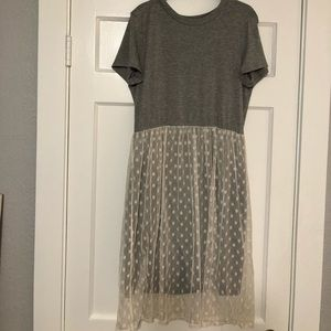 Gray knit dress with white tulle skirt